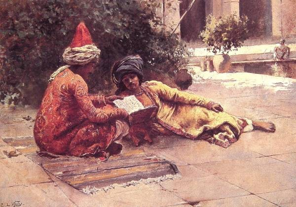 Two Arabs Reading in a Courtyard